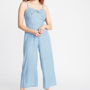 Old Navy Chambray Tie Front Jumpsuit, Size S NWT